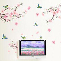 Fresh Pink Peach Flower Birds Romantic Home Living Room Decorative Wall Stickers