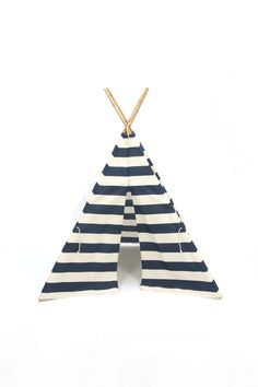 Teepee Play Tent Wood Poles Included Navy and Natural White Stripe - 4 panel by BElittleyouandme on Etsy