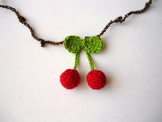 Cherry necklace fine crochet red fruit with green by SunnyGarden