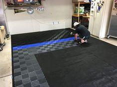 Before and After RaceDeck Free Flow - Brian's Garage Tile #GarageFlooring