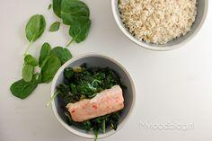 Zilvervliesrijst met gewokte spinazie en chili zalm // recept // myfoodblog.nl