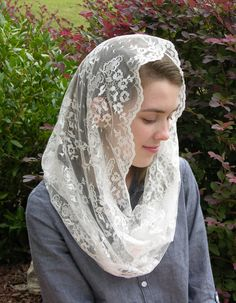 Beautiful and elegant, this Infinity Veil is made from a vintage, soft white Chantilly lace with just a slight touch of sheen. + Veil can be Beautiful Muslim Women, Beautiful Hijab, Catholic Veil, Catholic Gifts, Mantilla Veil, Chapel Veil, Bride Of Christ, Church Outfits, Chantilly Lace