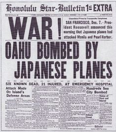 the date of the military strike by Japan on Pearl Harbor, is being remembered today around the nation. 71 years ago at 0755 HST was the attack on Pearl Harbor. Taking a moment of silence to remember those lost. Newspaper Headlines, Old Newspaper, World History, World War Ii, Remember Pearl Harbor, Pearl Harbor Attack, Pearl Harbor 1941, Pearl Harbor Day, Awesome