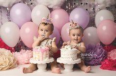 Unicorn twin cake smash! Birdie baby boutique unicorn horn headbands