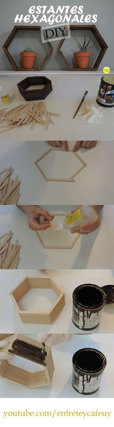 DIY súper fácil y hermoso. Estantes hexagonales usando palitos de helado.