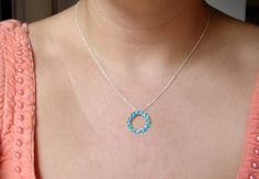 Turquoise Necklace Bridesmaid Jewelry Sterling Silver by Nafsika