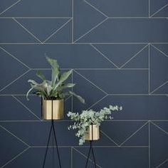 Lines Wallpaper in Dark Blue design by Ferm Living – BURKE DECOR