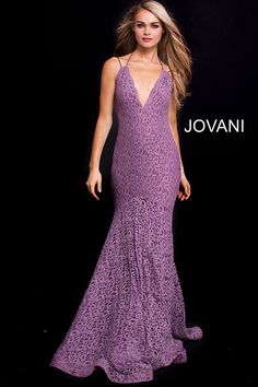 8a1329a7bad Mauve plunging neck sleeveless lace prom dress  Jovani  lacepromdress  Backless Prom Dresses