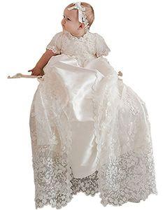 aaf36676e TOBewonder Toddler Baby Girl-Boys White Lace Christening Baptism Dresses  Gown Size NB-24M (9-12M)
