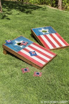 Celebrate Memorial Day with a handmade bean bag toss game! 1) Cut two 6 inch squares for each of the eight bean bags. 2) Cut two (one smaller than the other) stars out of fabric. 3) Attach both stars to one square with heat n' bond. 4) Sew around the top square at about 1/8th of an inch from the edge. 5) Sew both squares together, leaving 1/4th of an inch along the edge. 6) Once you fill the bag with pellets, finish sewing up the edge. 7) Finally, use pinking shears to cut along the raw…