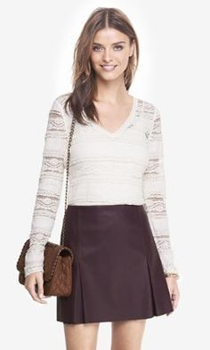 tiered lace v-neck long sleeve layering tee from EXPRESS