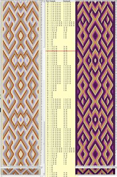 40 hexagonal cards, 4 colors, repeats every 72 rows, GTT༺❁ Inkle Weaving, Inkle Loom, Card Weaving, Tablet Weaving Patterns, Weaving Textiles, Finger Weaving, Embroidered Clothes, Ornament, Knitting