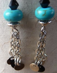 Black and turquoise with silver accents Dangling Earrings by PrairiePinePeddler on Etsy