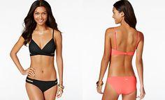 Vince Camuto Crossover Cutout Bikini Top & Double Side Strap Bikini Bottom