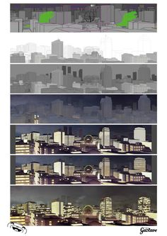 Making of Background of city  http://www.studiogustave.com  #animation #background #drawing #studiogustave #gustave #city