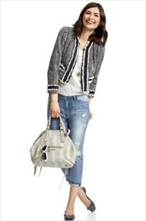 blazer and jeans ~ Coco Chanel style jacket, and boyfriend jeans... love