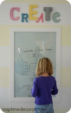 DIY Dry Erase Board from poster frame - like that it is plastic and not breakable