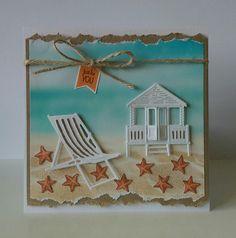 Summer card Beach Sea Seaside Marianne design Deck chair Beach chair tiny Beach House sand ocean Water zomer kaart