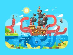 Kraken attack  by Anton Fritsler (kit8) #Design Popular #Dribbble #shots