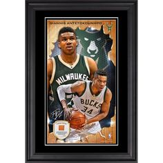 """Giannis Antetokounmpo Milwaukee Bucks Fanatics Authentic Framed 10"""" x 18"""" Vertical Photo Collage with Team Used Basketball - Limited Edition of 250"""