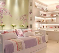 Cute Girl Bedroom Ideas - Your daughter will love a room filled with color, patterns, and cute accessories! Click through to find oh-so-pretty bedroom decorating ideas for girls of all ages. Girls Bedroom, Dream Bedroom, Home Bedroom, Bedroom Decor, Room Girls, Pretty Bedroom, Bedroom Ideas, Kids Room, Princess Room