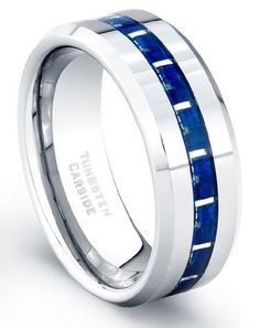 8 mm Tungsten Carbide Ring Blue Carbon Fiber Inlay Polished Finish Size 12 review - wedding ring hand | ring engagement finger