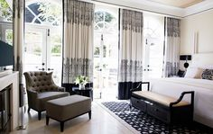 The curtains in the bedrooms of the renovated hotel Bel Air by Alexandra Champalimaud