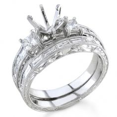 Bijan Feré Platinum Princess & Baguette Diamond Wedding Set