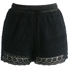 Chicwish Boho Weekend Crochet Shorts in Black (105 BRL) ❤ liked on Polyvore featuring shorts, bottoms, pants, short, black, relaxed shorts, short shorts, macrame shorts, boho shorts and relaxed fit shorts
