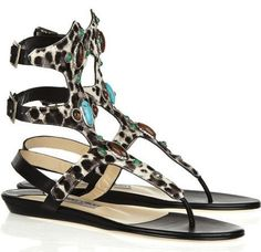 Leopard w/ Turquoise Beads Sandals