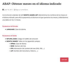 Manual SAP/ABAP para obtener meses en el idioma indicado Languages, Names