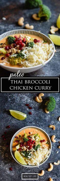 Healthy Weeknight Dinner Recipe Paleo Thai Broccoli Chicken Curry | Paleo Recipe | Gluten Free Recipe | Dairy Free Recipe | Healthy Recipe | Low Calorie Recipe | High Protein Recipe | Weeknight Dinner Recipe