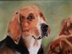 Portrait de chien de vénerie au pastel sec : Peintures par badoualmorgane
