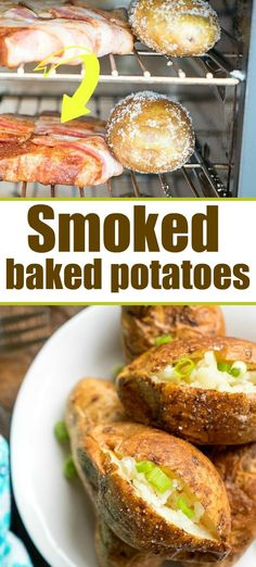 I will never make potatoes any other way after tasting j Smoked baked potatoes! I will never make potatoes any other way after tasting j… Smoked Baked Potatoes, Russet Potato Recipes, Healthy Potato Recipes, Scalloped Potato Recipes, Vegetarian Recipes, Russet Potatoes, Smoked Pork, Vegetable Recipes, Snacks