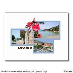 briefkaart voor Orebic, Peljesac, Kroatië, briefkaart voor Dubrovnik, Kroatië, Photo, tourism, Europe, Croatia, Croatian, Adriatic sea, Adriatic , Mediterranean, Dalmatian, Dalmatia , Dalmatic , Dalmatië, Orebic, vacation, travelling, journey, holiday, holidays, holiday, voyage, reizen, vakantie, Kroatie, postcard, postcards, design, Originele postkaarten voor het Orebic in Kroatië met een heel nieuw design. Ook verkrijgbaar ZONDER TEKST zodat je ze kan personaliseren