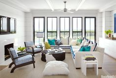 blue + white family room