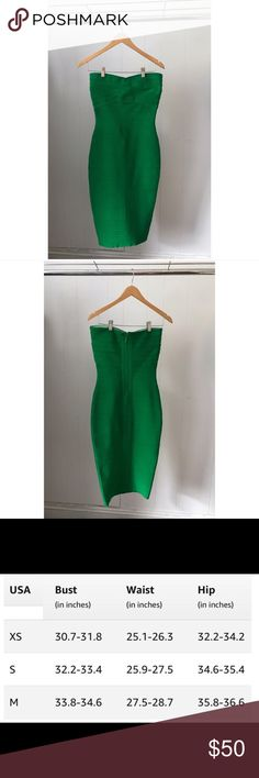 Bandage Dress Vibrant green strapless bandage body con dress. Great for any fun occasion! Dresses Strapless