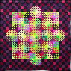 Third Place, Large Quilts:   Key Lime Pie by Jenny Bonynge, quilted by Margaret Ferguson  from a workshop with Sandy Bonsib