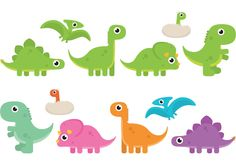 To decorate a kids room, classroom or party spaces use this set of colorful cute cartoon dinosaur vectors. There are so many uses for these little dinosaur vectors.