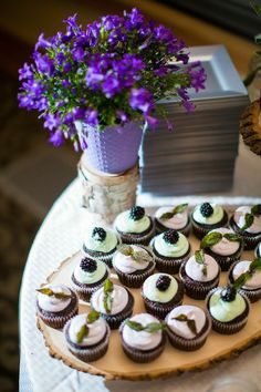 Purple and Mint cupcakes with lavender and blackberries.
