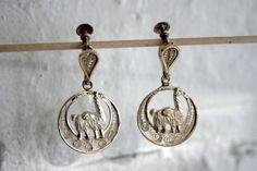 Vintage Peruvian Made Sterling Silver Llama Earrings by MallardVintage, $20.00