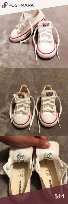 """CONVERSE ALL STAR """"WHITE"""" TODDLER CASUAL SHOE They are size 9 for toddlers. My son used it once and got the bottom sole dirty w some dirt. Super cute nothing wrong with them. *NO TRADES Converse Shoes Sneakers"""