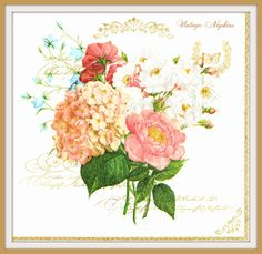 PAPER napkins for DECOUPAGE - Summer Flowers BOUQUET #279 by VintageNapkins on Etsy