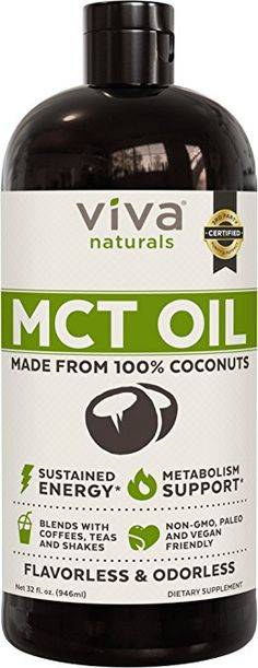 Viva Naturals Non-GMO Pure Coconut MCT Oil fl oz) - Gluten Free, Vegan for sale online Hcg Diet, Paleo Diet, Ketogenic Diet, Paleo Coffee, Metabolism Support, Keto Supplements, Mct Oil, Blended Coffee, No Carb Diets