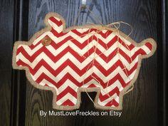 "Arkansas Razorback ""Piggy"" Chevron & Burlap Door Hanger on Etsy, $26.00"