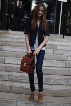 blazer with rolled sleeves, gray tee, skinny jeans, ankle boots.