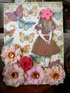 #Alice #ATC (multi media, paper, tulle, flowers, embellishments, stitched)