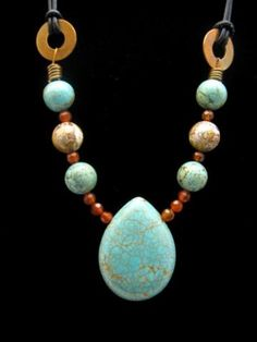 Turquoise Carnelian Copper with Leather Cord Necklace by AndreaTJewelry for $45.00
