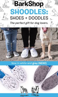 Shoes + Doodles = Shoodles, the perfect gift for dog lovers! Now available in gray & kid sizes. Get your paws on these puppies on BarkShop.com.