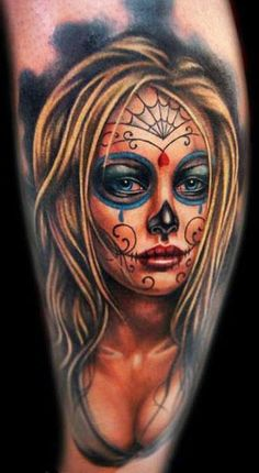 Day of the dead tattoo. Great color.